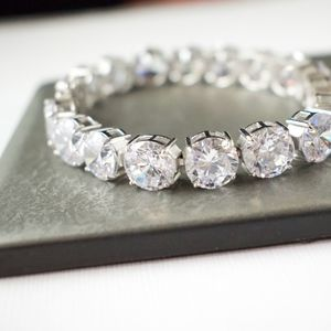"""925 Sterling Silver Cubic Zirconia Bracelet 7-3/4"""""""